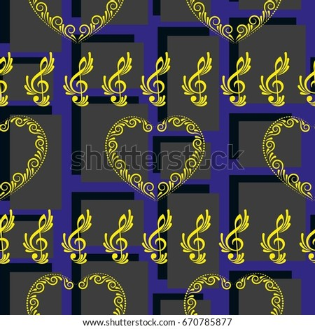 Endless abstract pattern. Background texture, note, treble clef, music, sound.  Vector illustration.