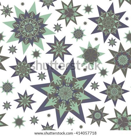 Endless abstract pattern with stars. Seamless texture - stock vector