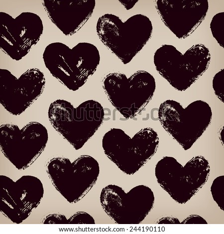 Endless hand drawn pattern with repeating hearts. Template for design textile, covers, wrapping paper, package, valentine gifts - stock vector