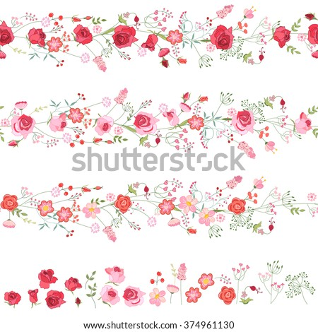 endless horizontal borders cute red pink stock vector royalty free
