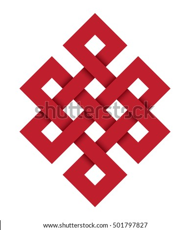 Endless knot, a red vector illustration with one of cultural symbol of buddhism endless knot