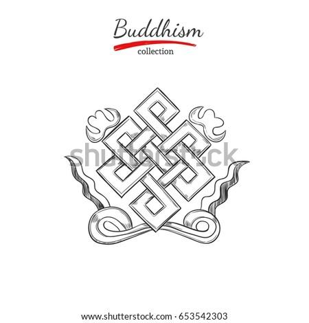 Symbol Of Buddhism SpiritualityYoga Print Vector Hand Drawn Illustration