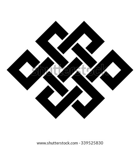 Endless Knot Tibet, Eternal , Buddhism and Spirituality . Vector illustration - stock vector