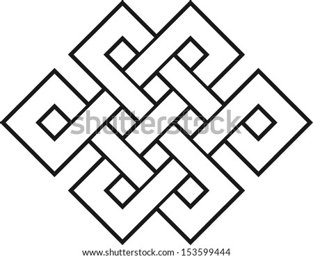 Endless Knot, Tibet, eternal, Buddhism, Spirituality - stock vector