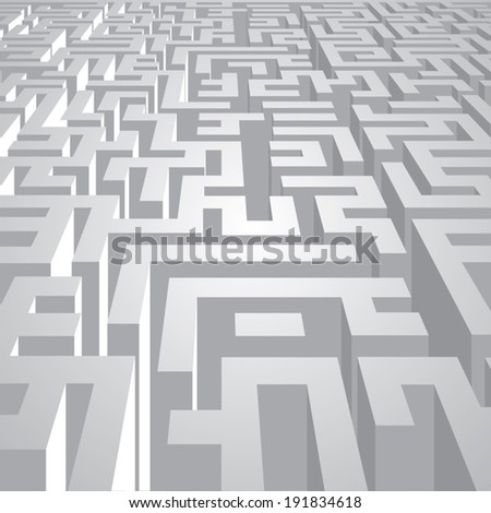 Endless  labyrinth corridors. Vector illustration - stock vector