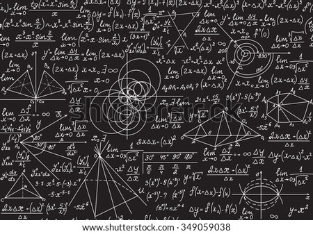 Endless mathematical texture with geometrical figures, plots and equations, handwritten with chalk on a grey blackboard. Mathematical vector seamless pattern