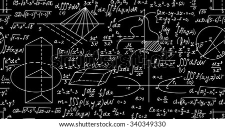 Endless mathematical vector texture with formulas, figures and handwritten plots - stock vector