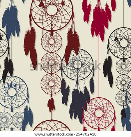Endless pattern design of dreamcatchers in colors - stock vector