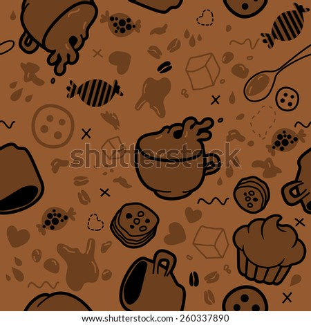 Endless pattern for packaging or book cover package cups. Illustrated coffee, breakfast - stock vector