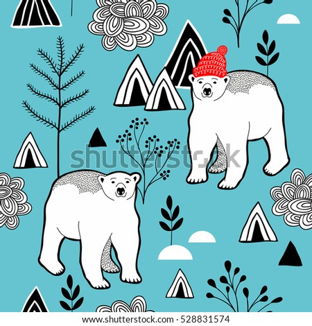 Endless pattern with polar bear in red heat, mountains and plants. Vector seamless background of nature.