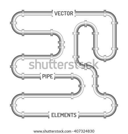 Endless pipe isolated on the white background. Vector parts of fitting. Design elements.