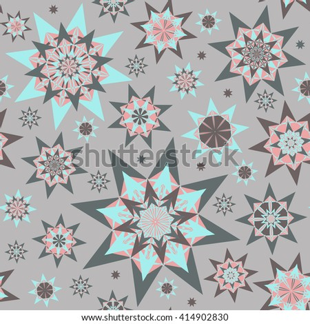 Endless seamless abstract pattern with stars - stock vector