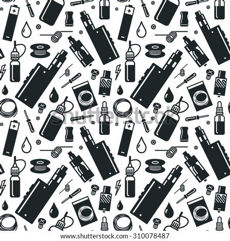 Endless vape background. Isolated on white background. Vape vector illustration. Vape trend. Illustration of Electronic cigarette. Vector seamless pattern of vaporizer and accessories