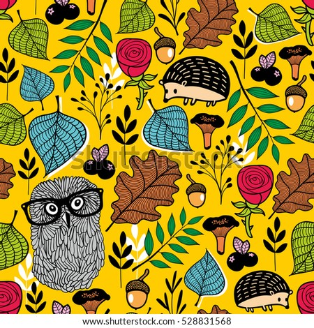 Endless vector pattern with forest flora and fauna. Textured background of smart owls in glasses and beautiful roses.