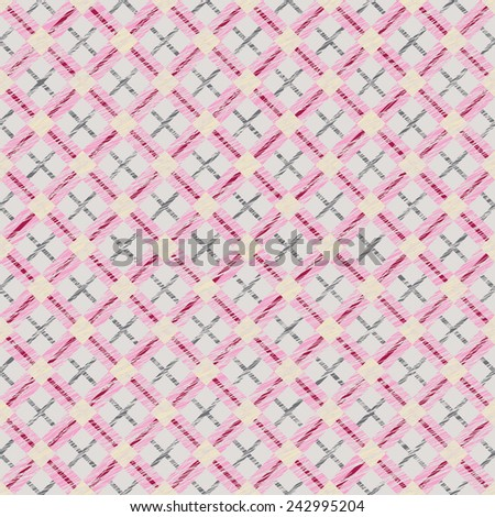 Endless vector pattern with Plaid Fabric. Simple checkered template. Brush strokes. Pattern fills. Abstract backdrop. Grungy tartan. Plain checkered background for decoration or backdrop. - stock vector