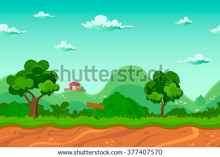 Endless village background, seamless cartoon landscape,  separated layers for parallax effect