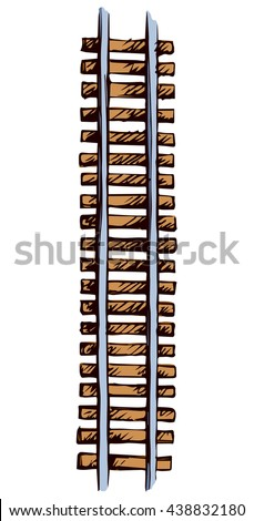 Endless wooden brown ties and direct right steel grey rails isolated on white. Bright color hand drawn picture sketchy in art scribble style. Top view with space for text - stock vector