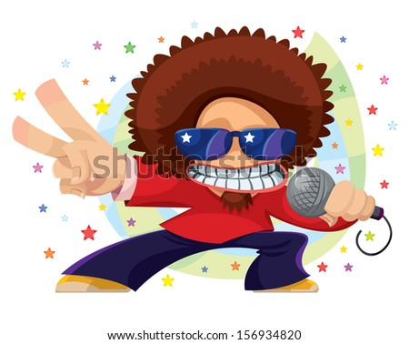 Energetic dj with a microphone - stock vector