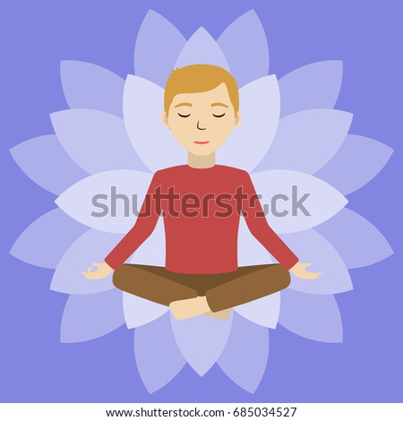 Energetic healing. Man heal himself with energy field. Pranic healing. Man in deep meditating consciousness. Alternative medicine concept. Vector illustration.