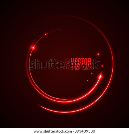 Energy abstract background with luminous swirling of glow circles. Glowing spiral circles in motion.  Vector illustration - stock vector