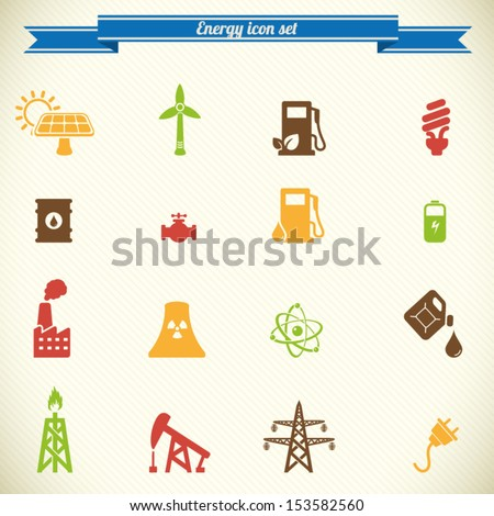 Energy and industry icon set in color - stock vector