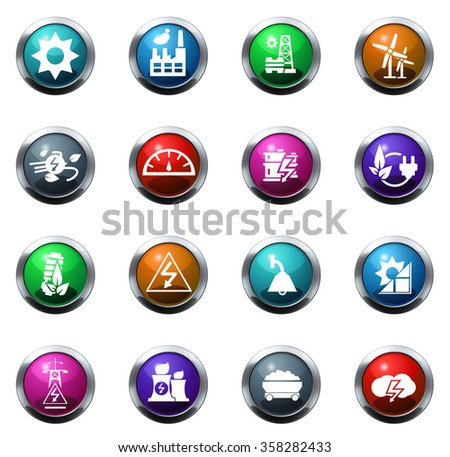 energy and power round glossy web icon set