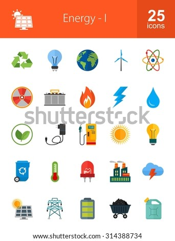Energy and Technology icon set. Suitable for use on web apps,  mobile apps and print media.