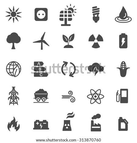 Energy black icons set. Vector - stock vector
