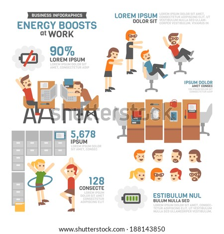 Energy Boosts at Work Infographics - stock vector