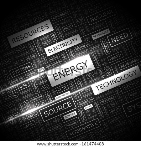 ENERGY. Concept illustration. Graphic tag collection. Wordcloud collage. Vector illustration.