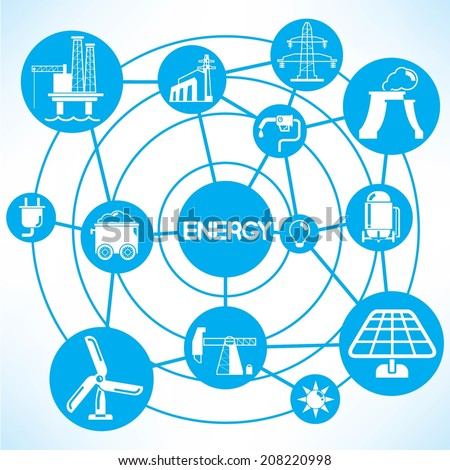 energy concept info graphic network with blue theme - stock vector