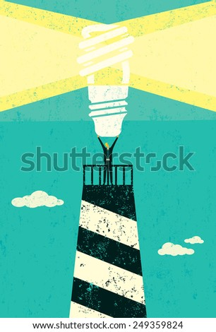 Energy conservation lighthouse A businessman holding up a bright, energy efficient light bulb, atop a lighthouse, as a symbol for others to follow for future energy conservation.  - stock vector