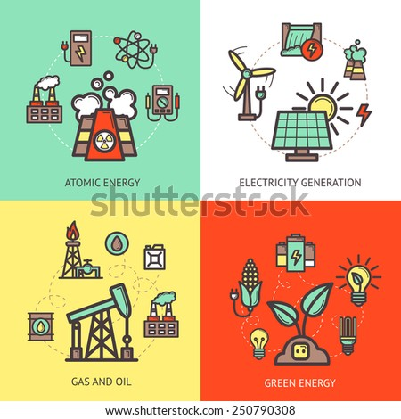 Energy design concept set with atomic gas and oil green electricity generation icons isolated vector illustration - stock vector