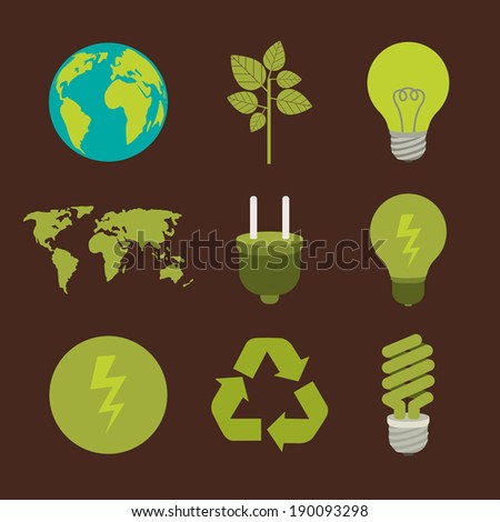 Energy design over brown background, vector illustration