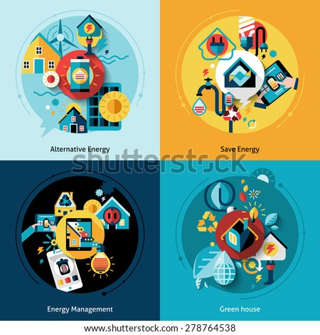Energy efficiency design concept set with alternative power management flat icons isolated vector illustration - stock vector
