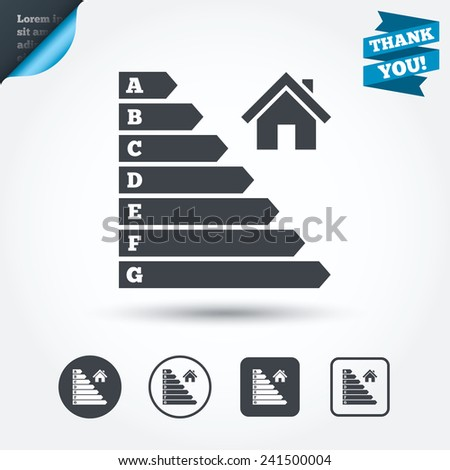 Energy efficiency icon. Electricity consumption symbol. House building sign. Circle and square buttons. Flat design set. Thank you ribbon. Vector - stock vector