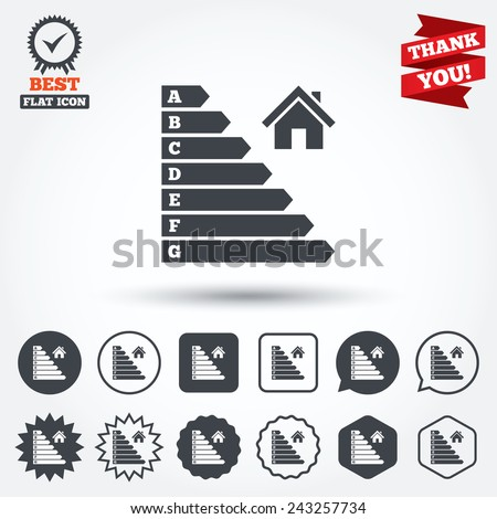 Energy efficiency icon. Electricity consumption symbol. House building sign. Circle, star, speech bubble and square buttons. Award medal with check mark. Thank you ribbon. Vector - stock vector