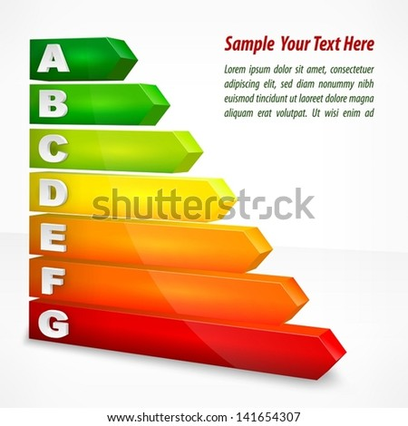 Energy efficiency rating color with arrows on white, vector illustration.