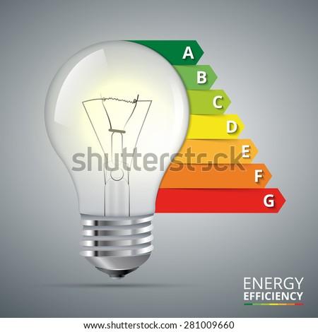 Energy efficiency rating with lightbulb. Vector Illustration - stock vector