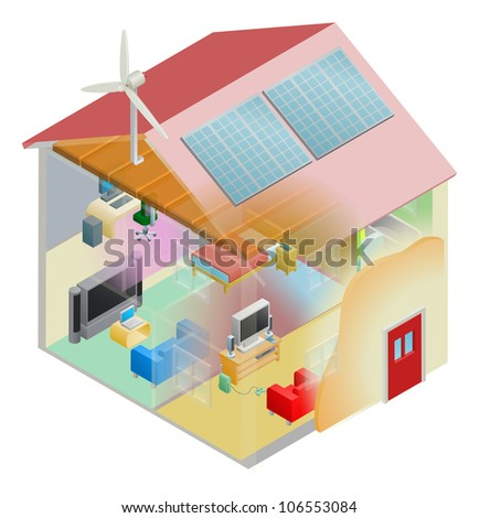 Energy efficient home house with cavity wall and loft insulation, wind turbine and solar panels on the roof. - stock vector