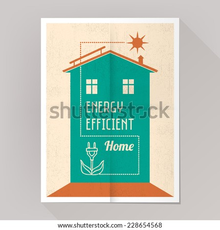 Energy efficient house and solar panels poster vintage style. - stock vector