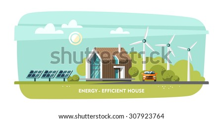 Energy-efficient house, passive house, Eco house, green energy, ecology. Flat design vector concept illustration. - stock vector