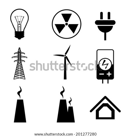 energy electricity black icons on white background vector - stock vector