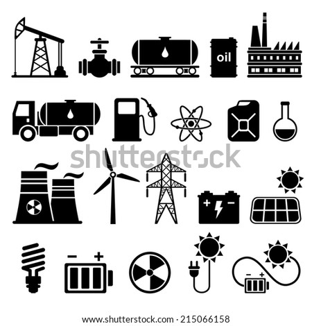 Energy, electricity, power icon set  - stock vector