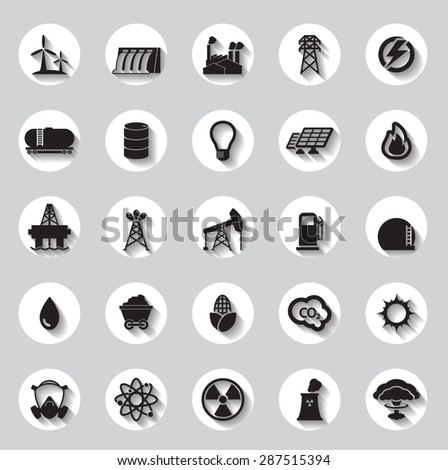Energy, electricity, power icons circle Signs and Symbols - stock vector