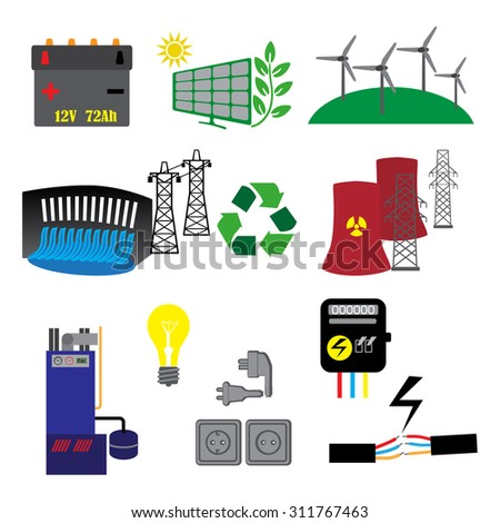 Energy, electricity, power  icons in colors