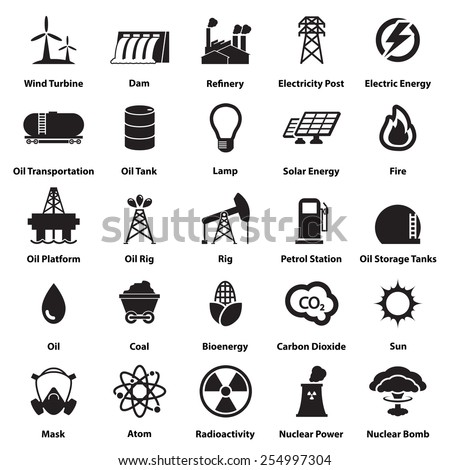 Energy, electricity, power icons Signs and Symbols - stock vector