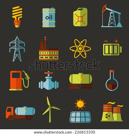 Energy, electricity, power vector flat icon set with shadows  - stock vector