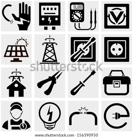 Energy, electricity, power vector icons set. - stock vector