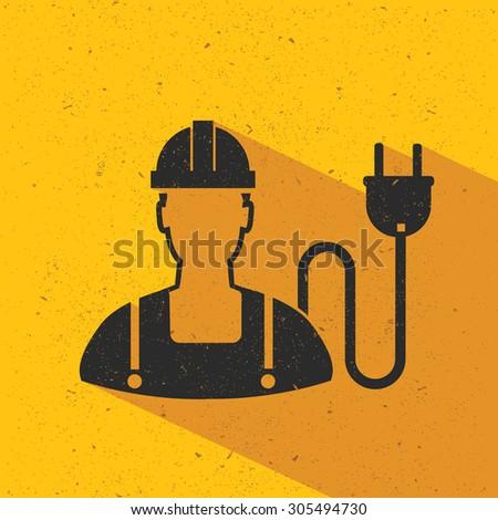 Energy,engineer flat design,yellow version,vector - stock vector